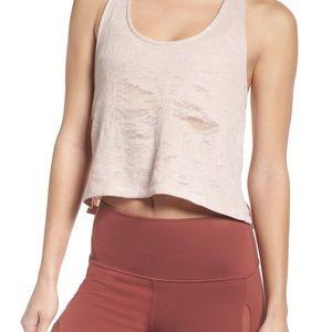 Alo Yoga Step Tank 2 Crop Top Distressed Knit